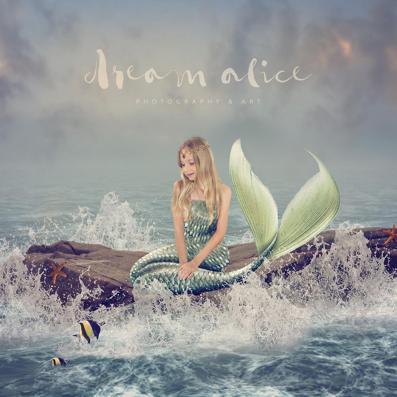 Mermaid Rock. Creative Children's Photography fantasy photoshoot, Dream Alice Photography & Art, Gold Coast