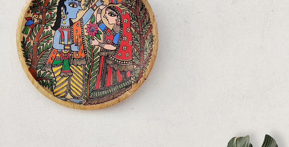Radha Krishna Madhubani Wall Plate