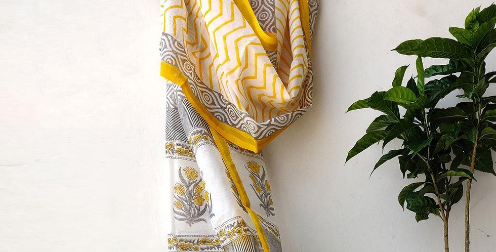 Yellow Floral Chanderi Dupatta