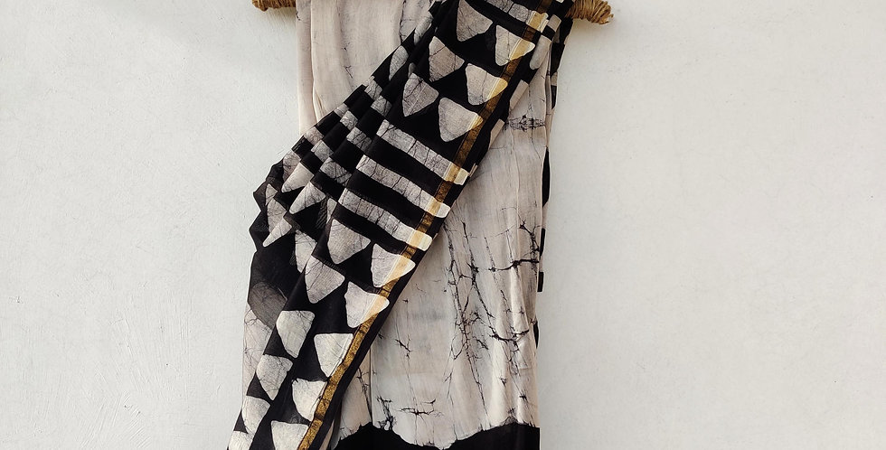 Black & White Geometric Block Print Chanderi Saree