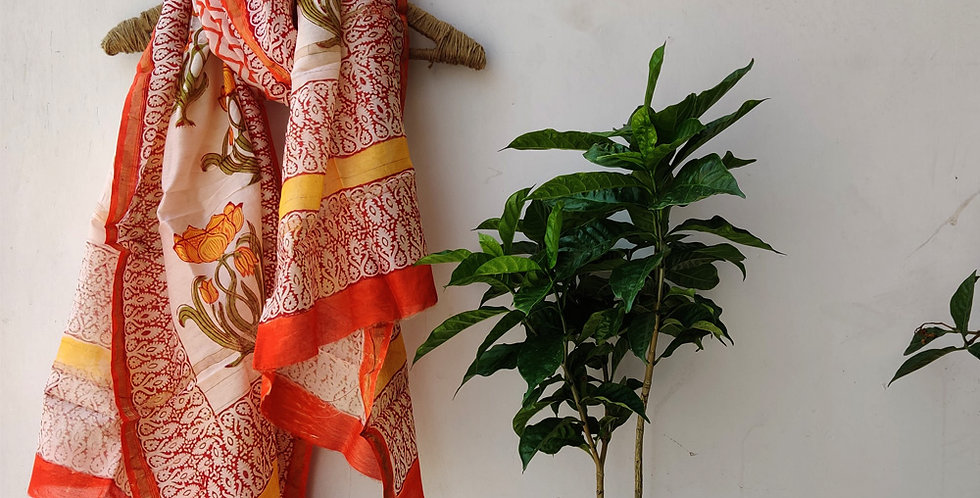 Orange Floral Chanderi Dupatta