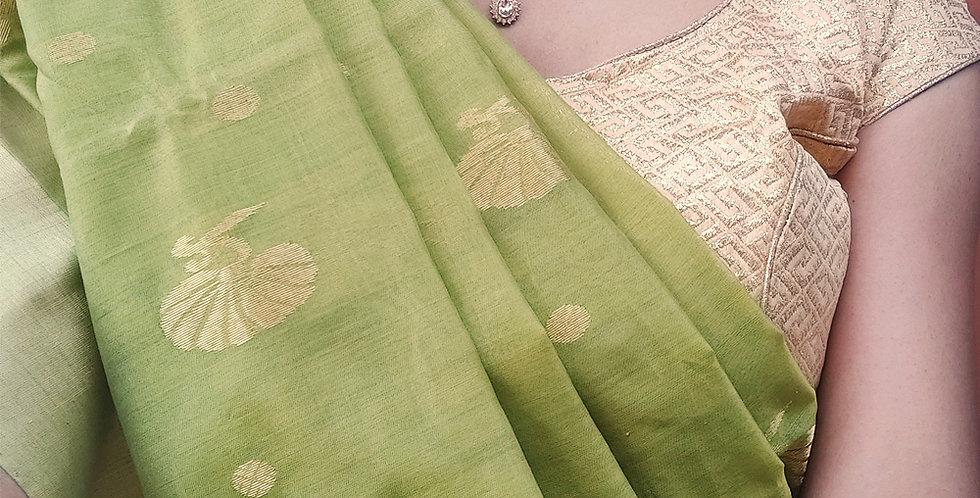Green Hand Woven Chanderi Saree