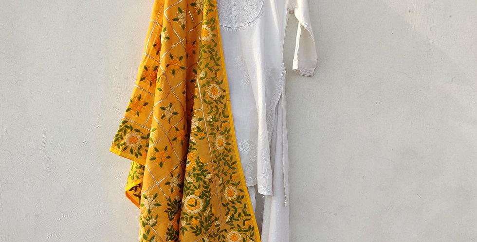 Yellow Gota Phulkari Dupatta