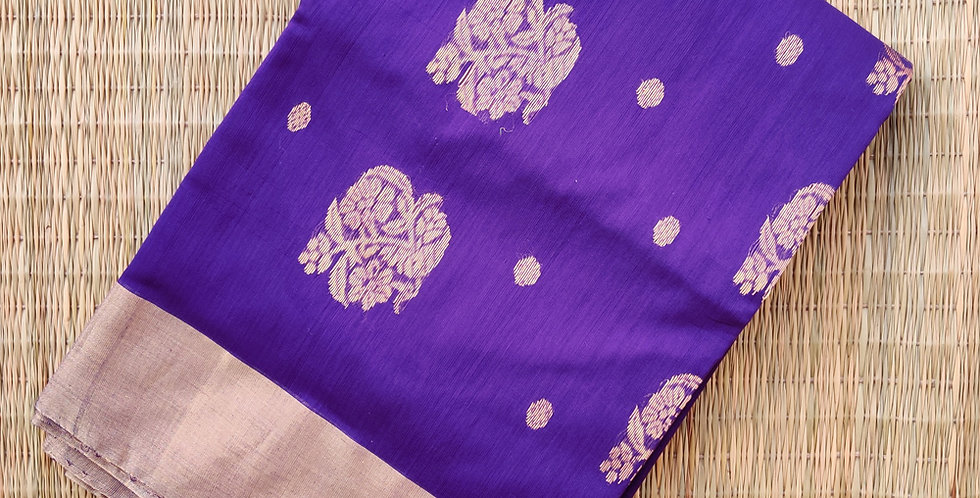 Purple Hand Woven Chanderi Saree