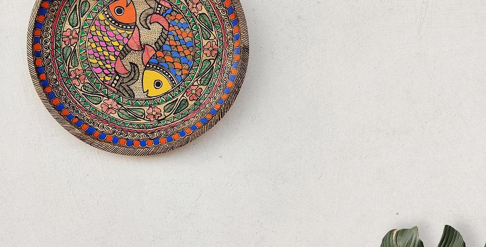 Matsya Jodi Madhubani Wall Plate