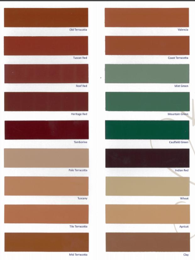 Spectrum Concrete Resurfacing Colour Chart Pressure Cleaning Gold Coast