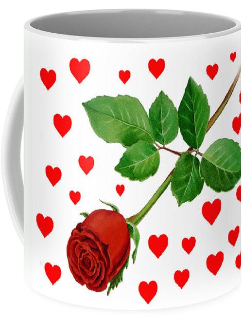 Valentine rose heart mug