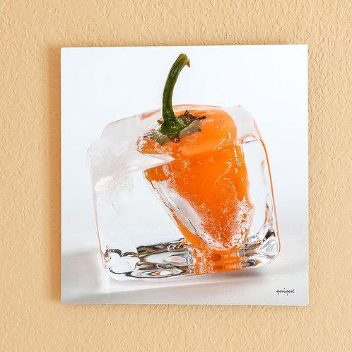 Ice cube Orange Pepper I - metal print