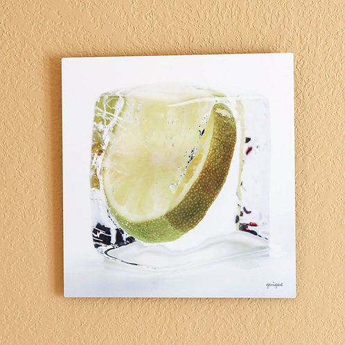 Ice cube Lime - metal print