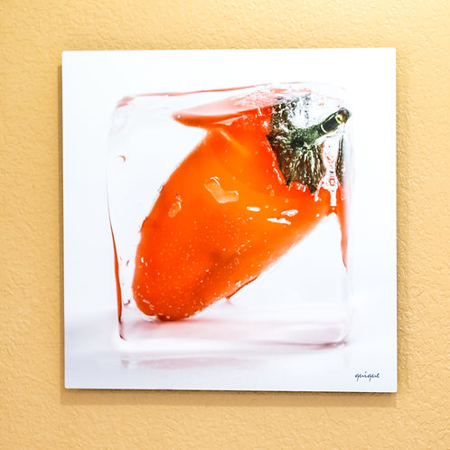 Ice cube Orange Pepper III - metal print