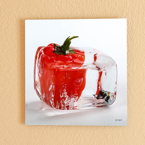 Ice cube Red Pepper II - metal print