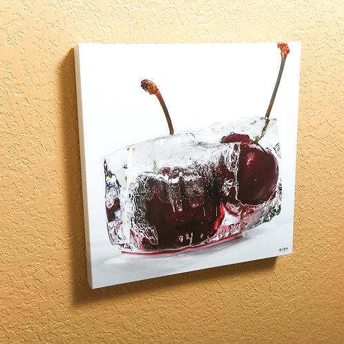 "Ice cube - Cherry - canvas 14x14"""