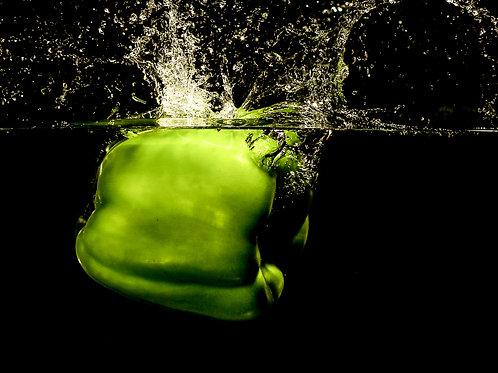 "Green pepper splash I - 8x10"" print"