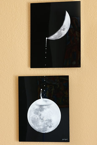 Moon Clock - metal print