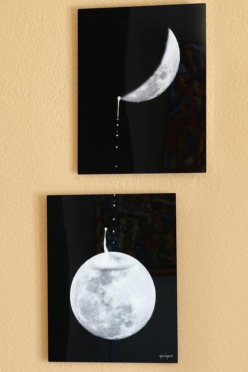 Moon Clock - metal print