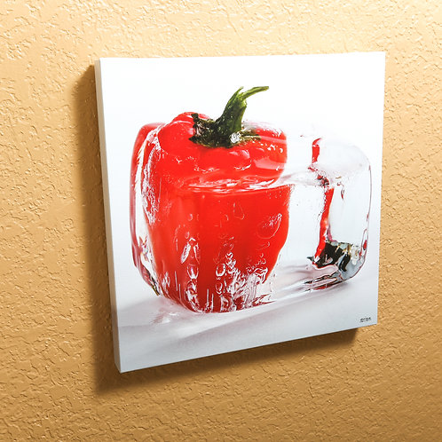 """Ice cube - Red pepper II - canvas 14x14"""""""