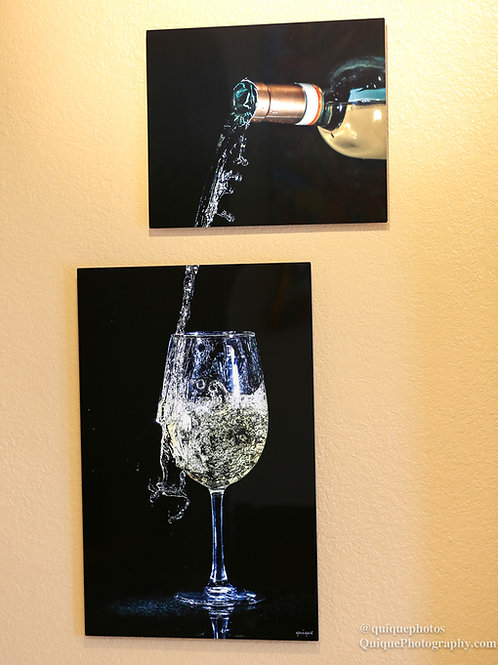Double Play - White Wine (black background)  - Two metal prints