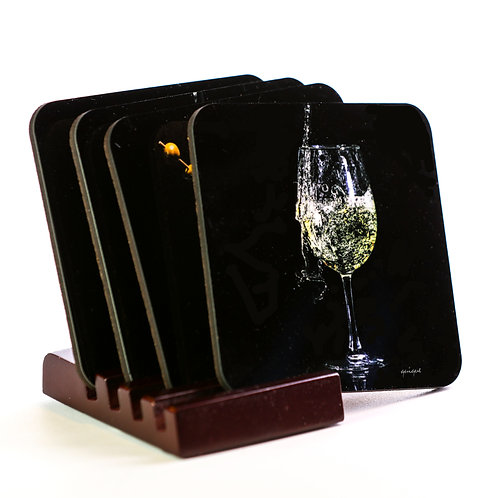 Drink coasters with pictures, Champagne, White Wine, Martini, Margarita