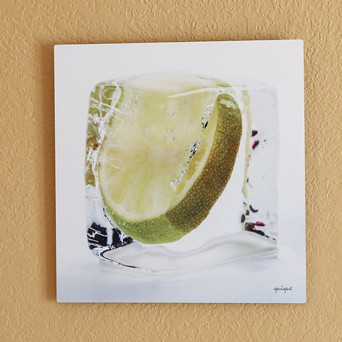 Ice cube Lime - metal print