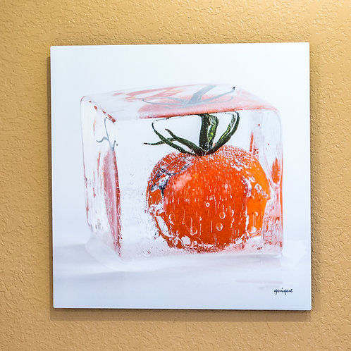 Ice cube tomato - metal print