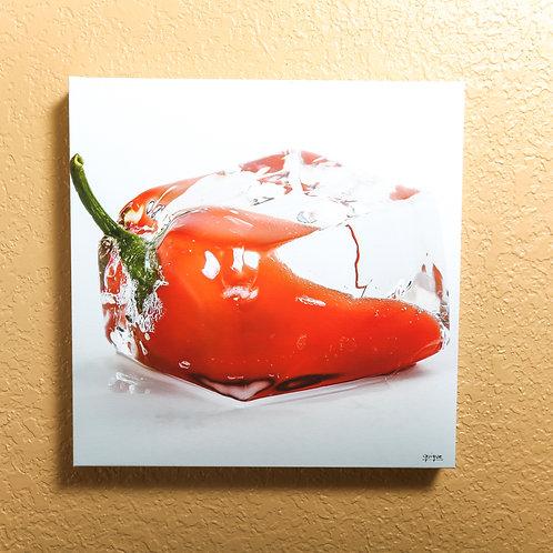 "Ice cube - Orange Pepper II - canvas 14x14"""