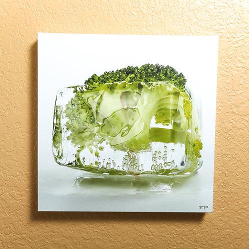 "Ice cube - Broccoli - canvas 14x14"""