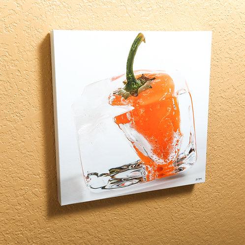 "Ice cube - Orange Pepper  - canvas 14x14"""