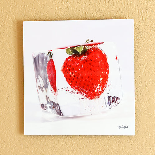 Ice cube Strawberry - metal print