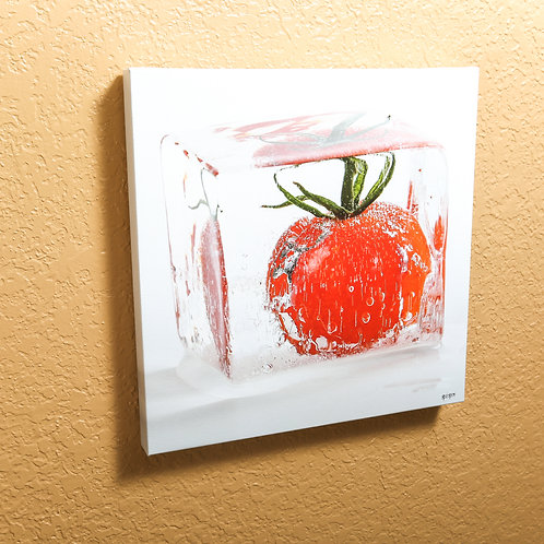 "Ice cube - Tomato - canvas 14x14"""