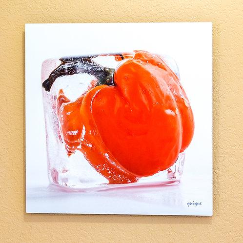 Ice cube Red Pepper I - metal print