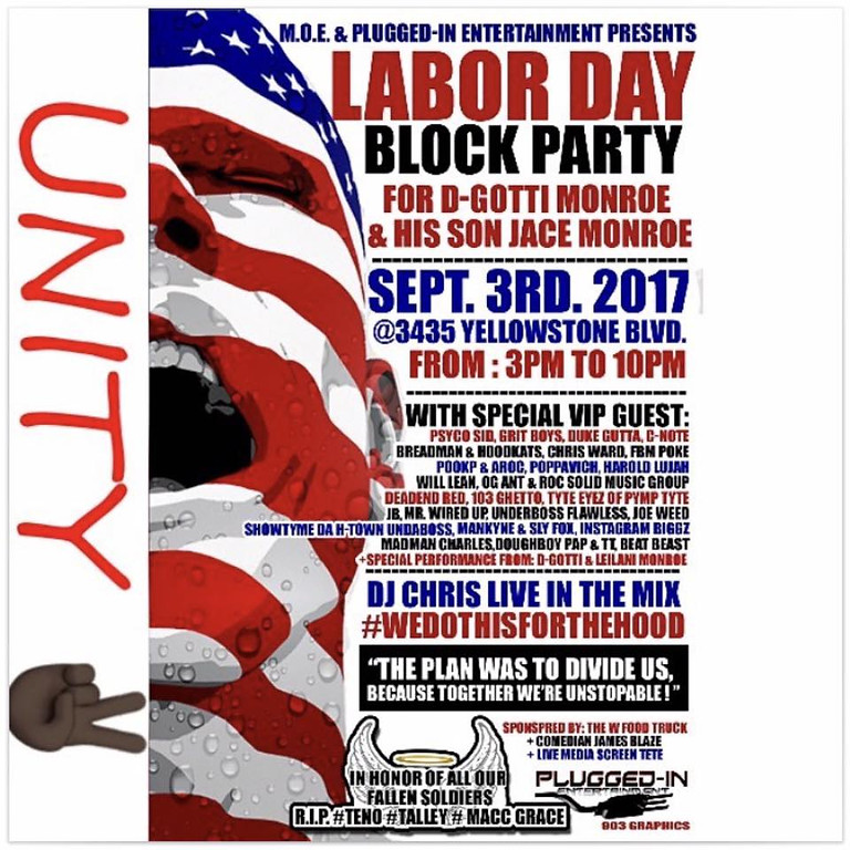 BACK TO SCHOOL LABOR DAY BLOCK PARTY: CANCELLED