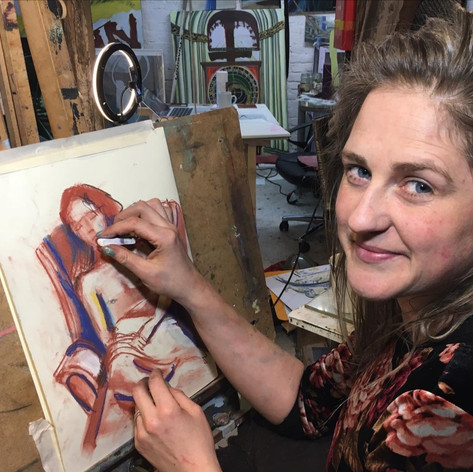 Louise Thomas drawing one day pastel class