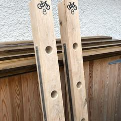 Oak bike lock posts