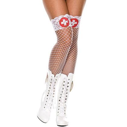 Music Legs - Weiße Netzstrümpfe mit rotem Kreuz