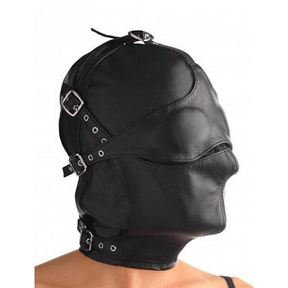 Strict Leather - Kappe aus Leder mit Augen- und Mundklappe