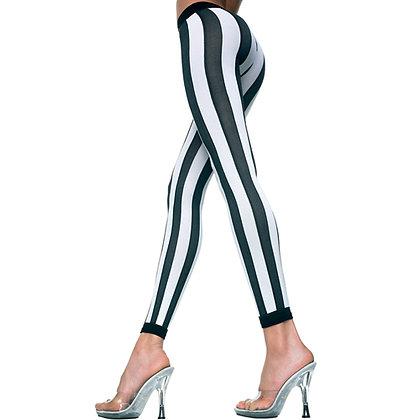 Music Legs - Vertikal gestreifte Leggings - Schwarz/Weiß