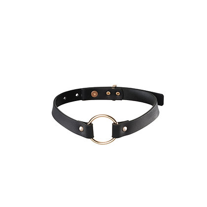 MAZE - schmales Halsband mit Ring - Schwarz