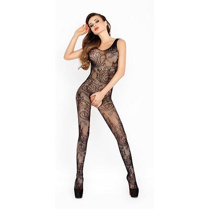 Passion - Catsuit aus schwarzem Netzmaterial mit offenem Schritt