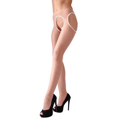 Cottelli Collection - Strumpfhose mit offenem Schritt - Hautfarbe