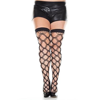 Music Legs - Netzstrümpfe mit dreifachem Faden - Schwarz - Plus Size