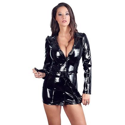 Black Level - Mantelkleid aus Lack mit Druckknöpfen - Schwarz