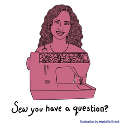 """Portrait illustration and header for Hannah Steinkopf-Frank's newsletter """"Sew you have a question?"""""""