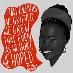 Portrait illustration created for my Instagram page featuring a quote from poet Amanda Gorman.