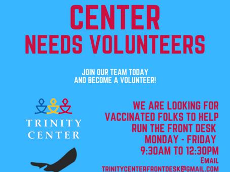 We need front desk volunteers!