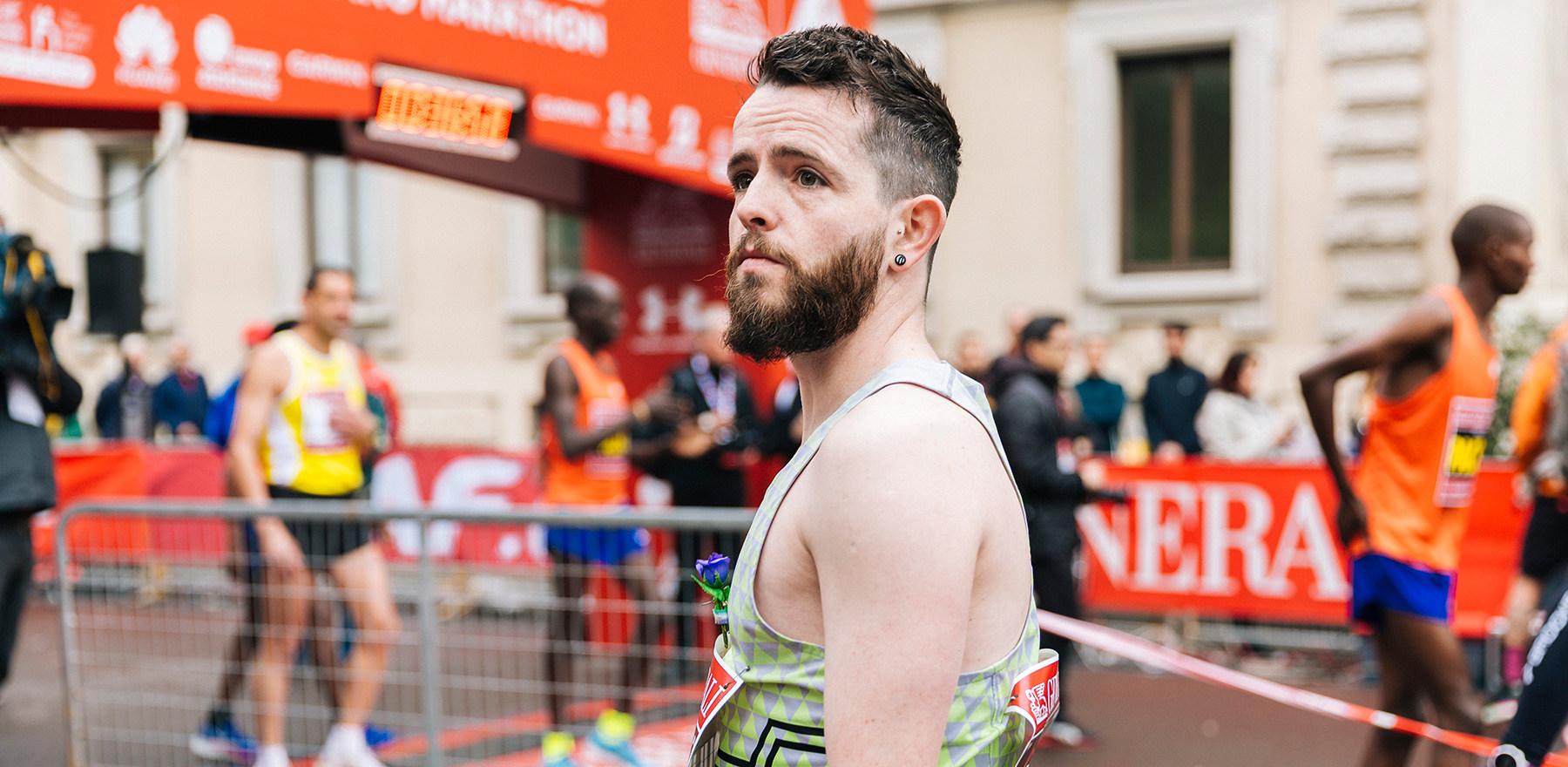 Before the start of the Milan Marathon