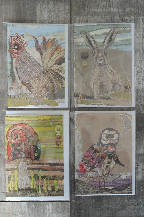 Set of 5 'animal' cards