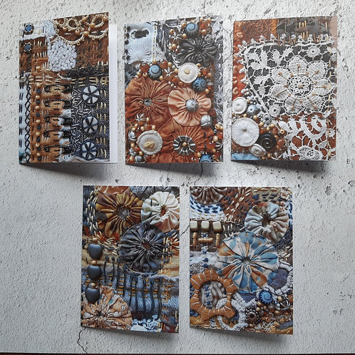Set of 5 greetings cards ' sew4thesoul'