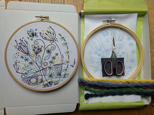 Embroidery KIT No 3 'Flowers and a Bee'