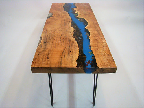 "Blue Epoxy River Maple Coffee Table 51-1/2""L x 19""W x 19-1/2""H"