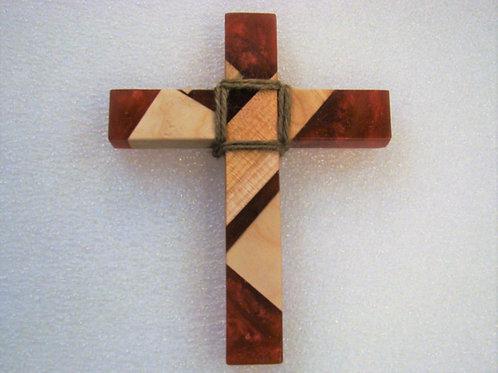 "Small Red Metallic Epoxy & Wood Cross 6-3/4""H x 5-1/4""W x 1"""